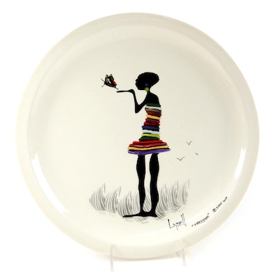 """Lydell Martin """"Freedom"""" Hand-Painted Ceramic Plate, 2004"""