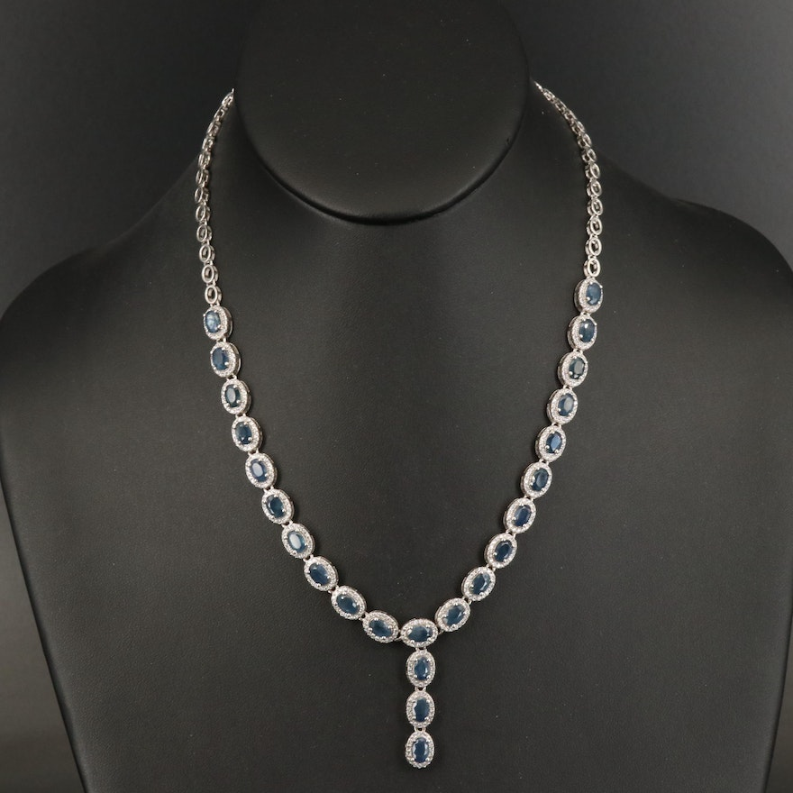 Sterling Silver Sapphire and Cubic Zirconia Necklace