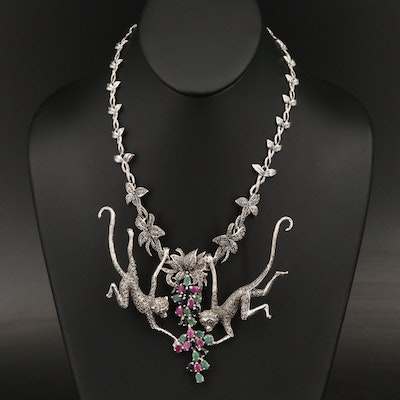 Sterling Ruby, Emerald and Gemstone Necklace with Articulated Monkeys