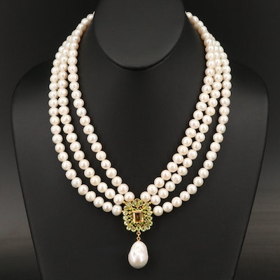 Sterling Pearl, Citrine and Diopside Festoon Necklace