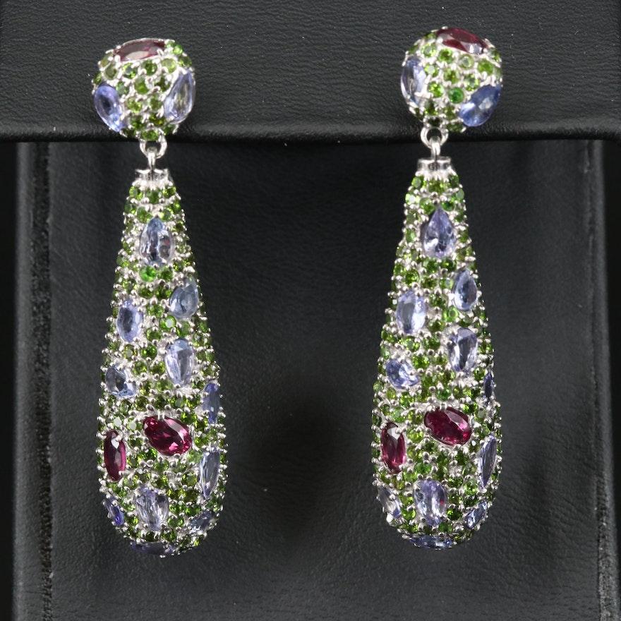 Sterling Silver Rhodolite Garnet, Tanzanite and Diopside Drop Earrings