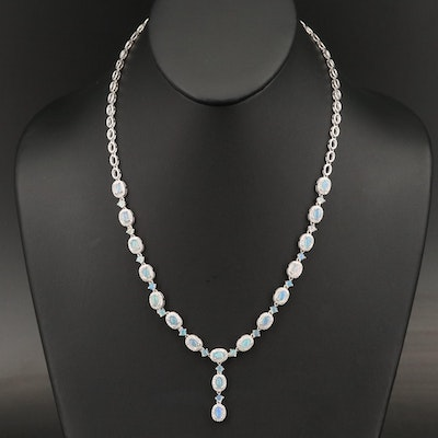 Sterling Silver Opal and Cubic Zirconia 'Y' Necklace