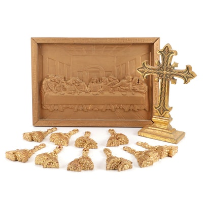 """Religious Table Decor with """"The Last Supper"""" Relief"""