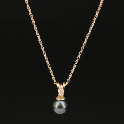 14K Diamond and Pearl Pendant Necklace