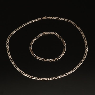 Italian Sterling Figaro Chain Necklace and Bracelet Set