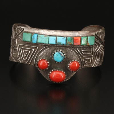Southwestern Style Sterling Silver Turquoise and Coral Cuff
