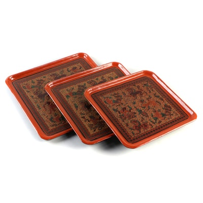 Southeast Asian Animal and Deity Motif Lacquerware Trays