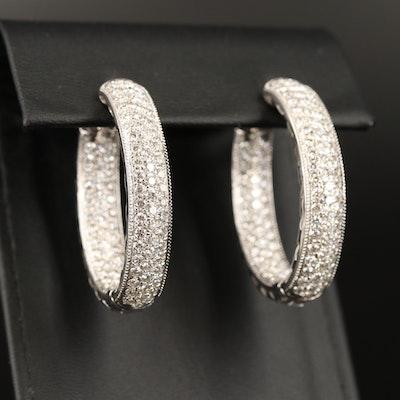 14K 5.70 CTW Diamond Inside-Out Hoop Earrings