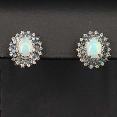 Sterling Silver Opal, Sapphire and Topaz Earrings