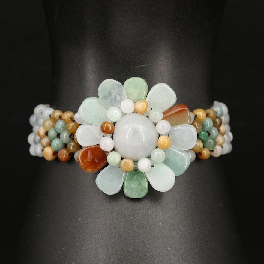 Beaded Jadeite Flower Bracelet