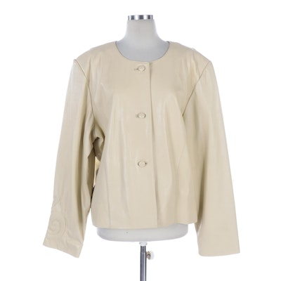 Barbara King Ivory Leather Button-Front Jacket with Scroll Design on Back