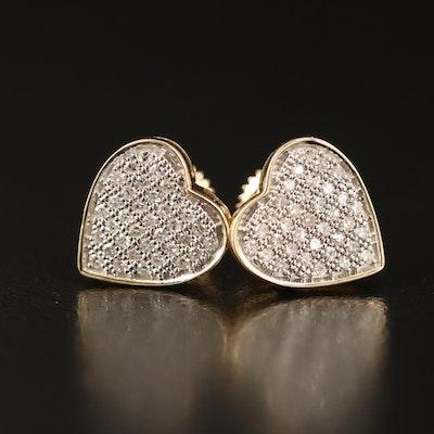 14K Diamond Cluster Heart Stud Earrings