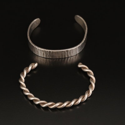 Sterling Twisted and Hammered Cuffs