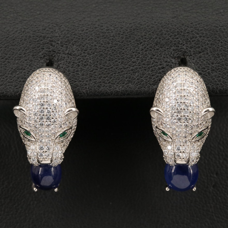 Sterling Cubic Zirconia and Sapphire Panther Head Earrings