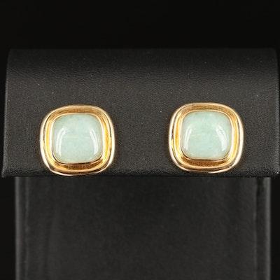 14K Jade Button Earrings