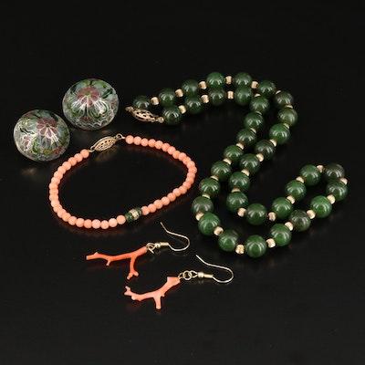 Sterling Jewelry Featuring Plique-á-Jour Enamel Domed Earrings
