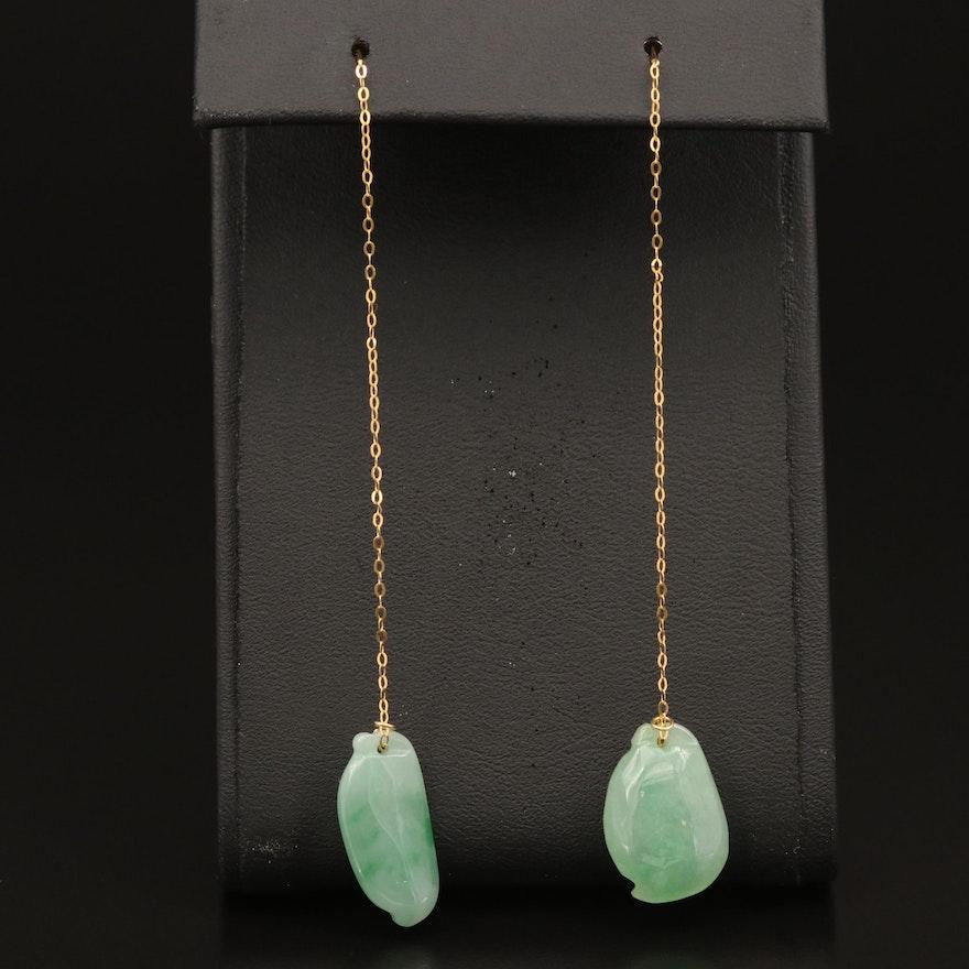 18K Carved Jadeite Threader Earrings