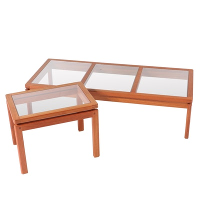 Danish Modern Teak and Glass Top Coffee and Side Table, Mid-20th Century