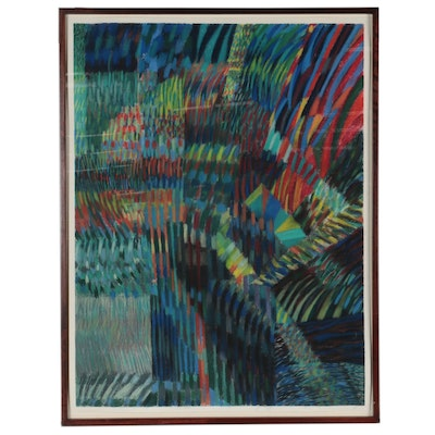 Large-Scale Non-Objective Abstract Pastel Drawing, Late 20th Century