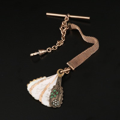 Antique Watch Fob with Carved Mother of Pearl and Enamel Dance Card Fan