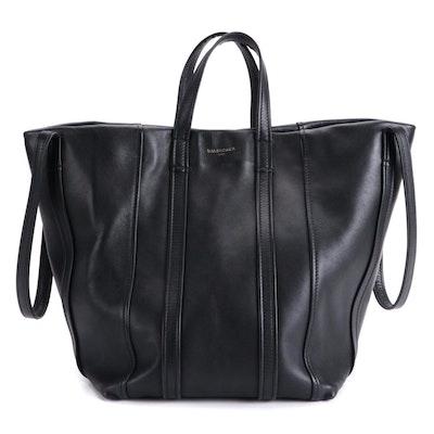 Balenciaga Laundry Cabas Tote in Black Leather