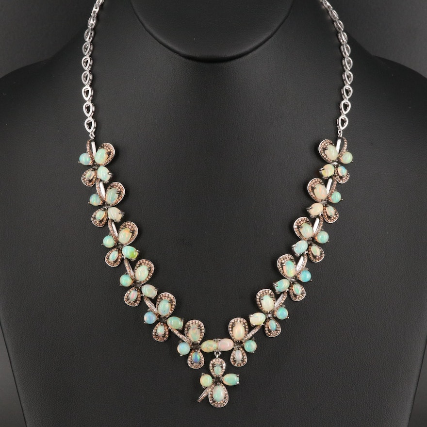 Sterling Silver Opal and Cubic Zirconia Necklace with Floral Design