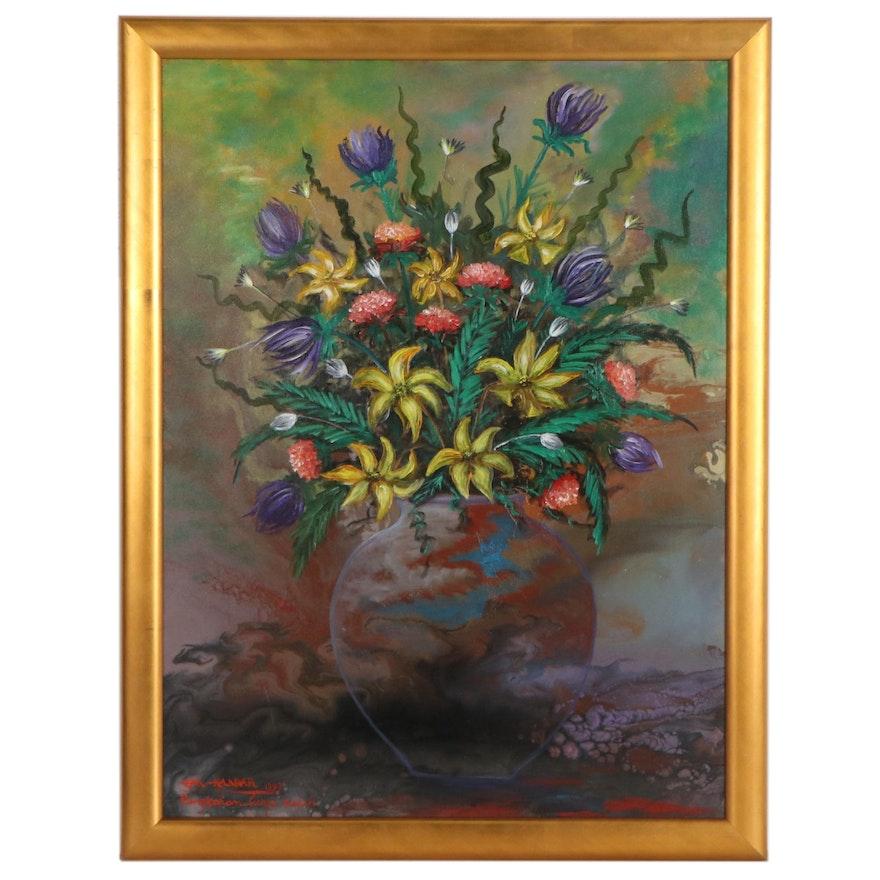 Kandar Cak Still Life Oil Painting of Flowers, 1997
