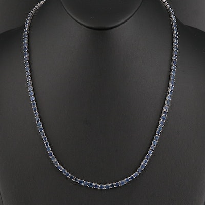 Sterling Silver Sapphire Line Necklace