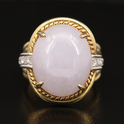 14K Oval Jadeite Cabochon Wire Wrapped Ring with Diamond Accents