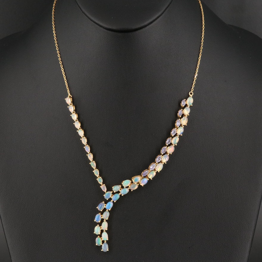Sterling Silver Opal and Tanzanite Necklace