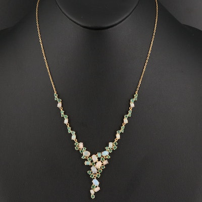 Sterling Silver Opal and Emerald Necklace