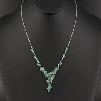 Sterling Silver Emerald Stationary Pendant Necklace