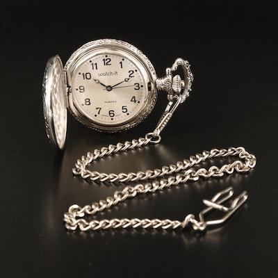 Watch-It Train Motif Quartz Hunting Case Pocket Watch