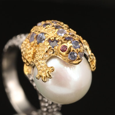 Sterling Pearl, Tanzanite and Sapphire Toad Ring