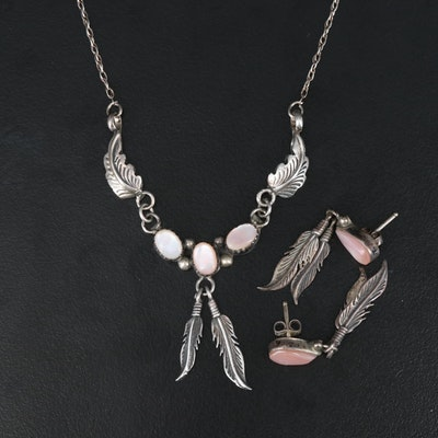 Southwestern Sterling Silver Mother of Pearl Necklace and Earrings Set
