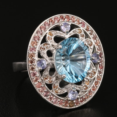 Sterling Silver Topaz, Tanzanite and Sapphire Openwork Ring