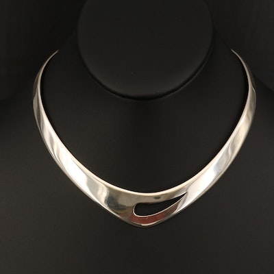 Sterling Torque Necklace with Teardrop Cut Out