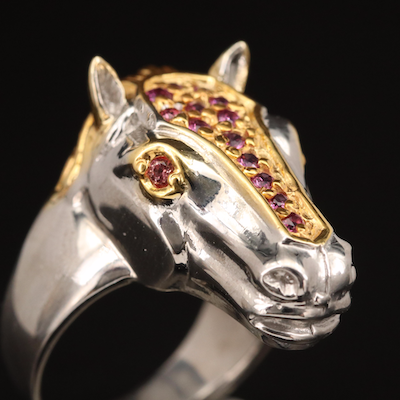 Sterling Horse Head Ring with Garnet and Sapphire Accents