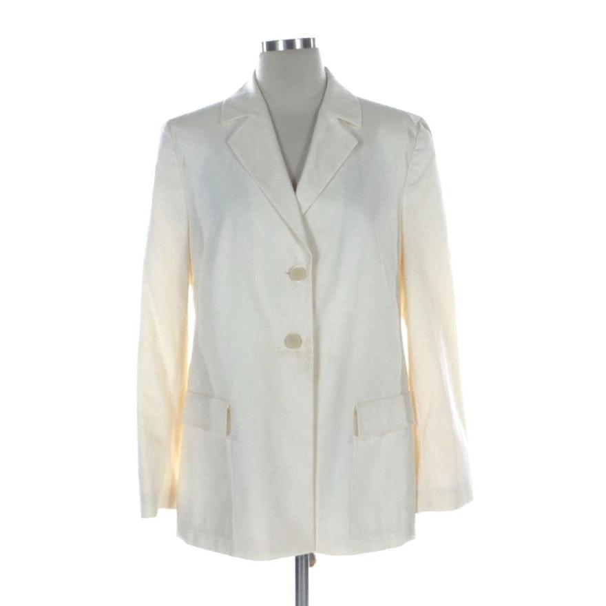 Louis Féraud Off-White Notch Lapel Jacket