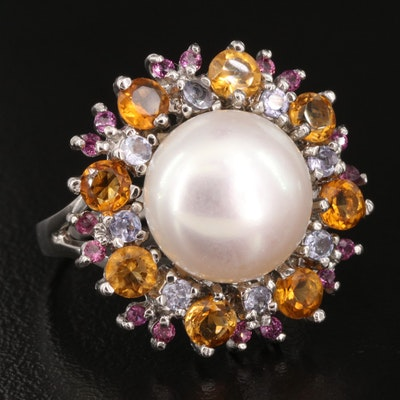 Sterling Silver Pearl and Gemstone Ring