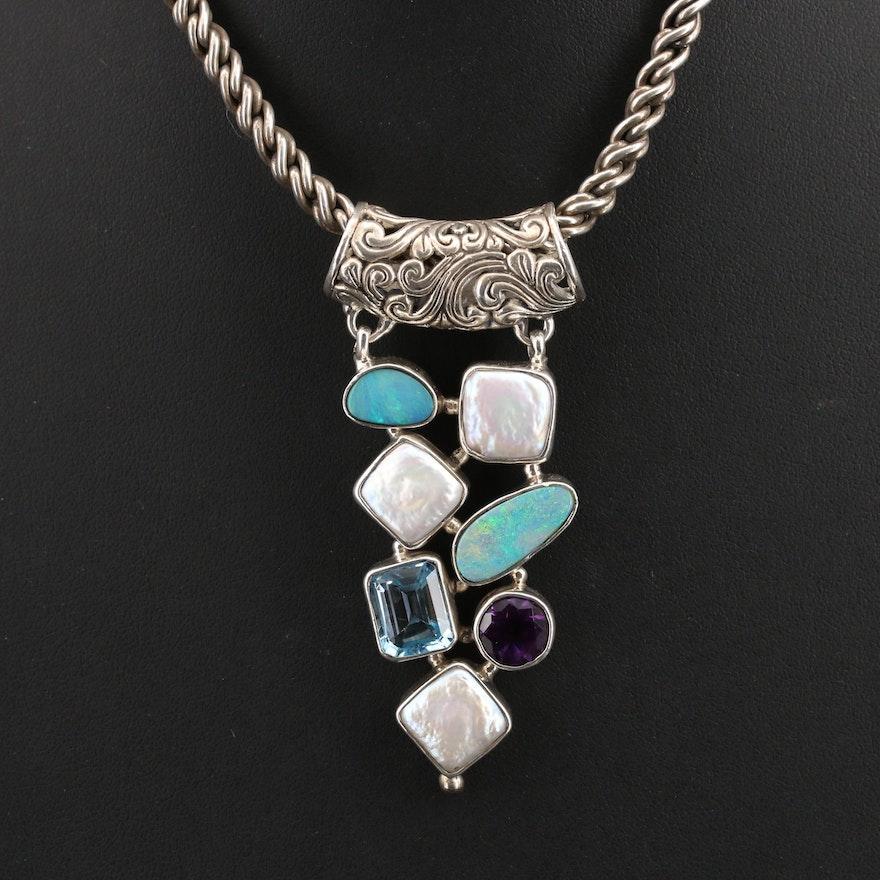 Bali Style Sterling Amethyst, Sky Blue Topaz and Gemstone Pendant Necklace