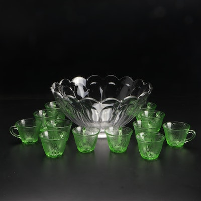"""Heisey """"Colonial"""" Glass Punch Bowl with Hazel-Atlas Green """"Royal Lace"""" Cups"""