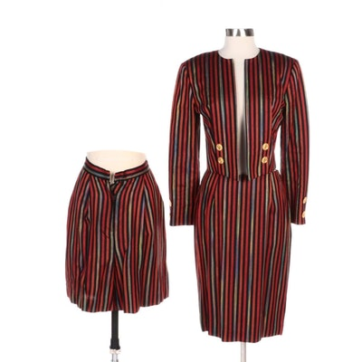 Bob Mackie Collection II Striped Rayon and Linen Three-Piece Suit Set
