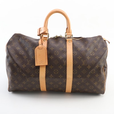 Louis Vuitton Keepall 45 Duffle Bag in Monogram Canvas and Vachetta Leather