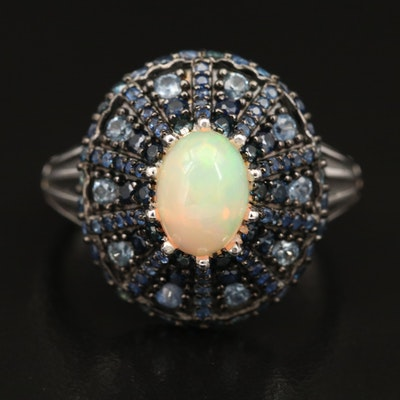 Sterling Silver Opal and Sapphire Ring