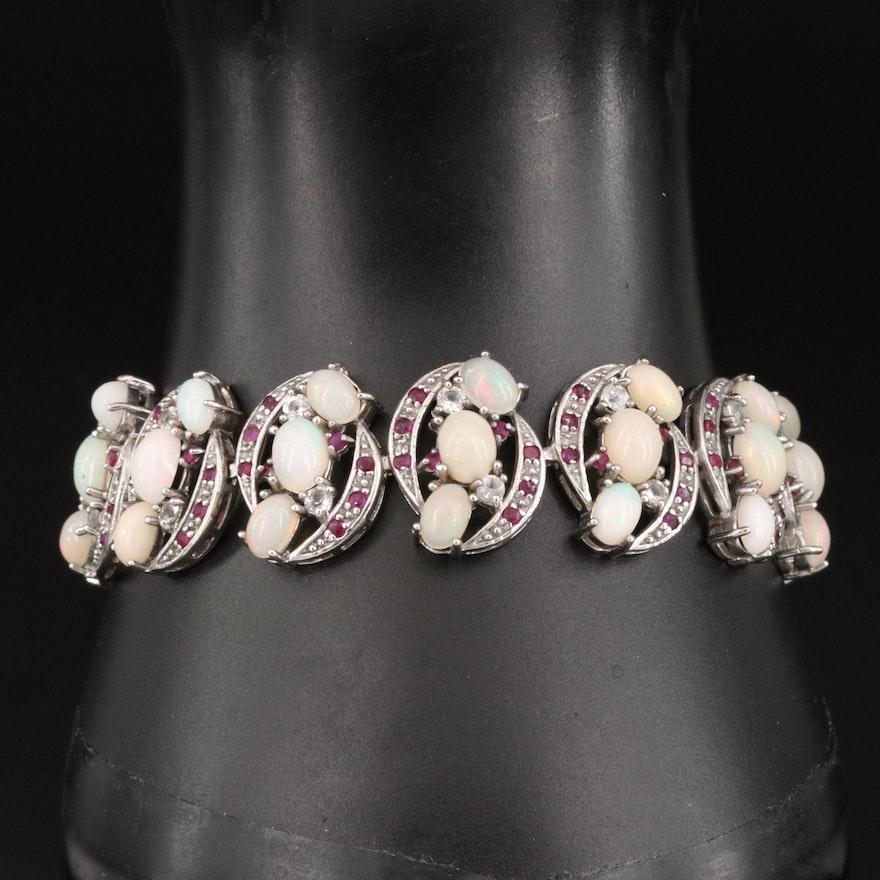 Sterling Silver Opal, Topaz and Ruby Bracelet