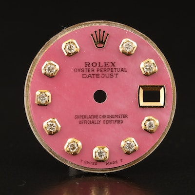 Pink Mother of Pearl Rolex Datejust Diamond Aftermarket Dial