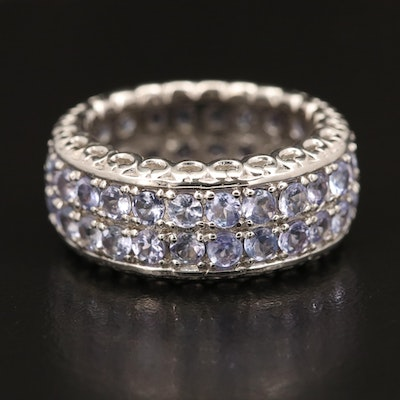 Sterling Silver Tanzanite Double Row Eternity Band