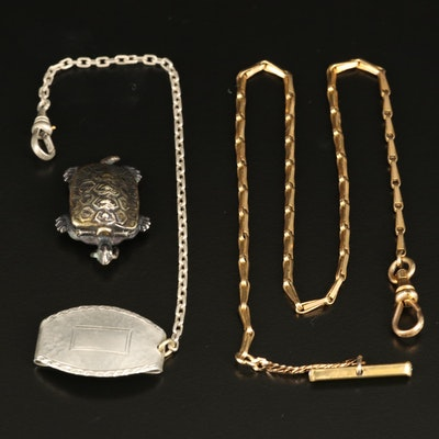 Vintage Simmons Watch Chain with Japanese Turtle Compass Pendant
