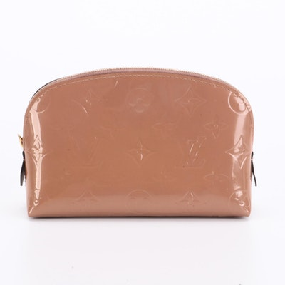Louis Vuitton Cosmetic Pouch in Rose Velours Monogram Vernis